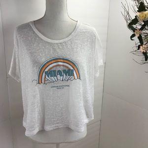 Armani exchange Miami burn out crop shirt